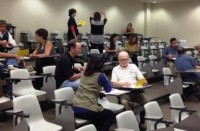 Participants at LINKS 10 Santa Ana discuss professional learning in an post-lunch activity.